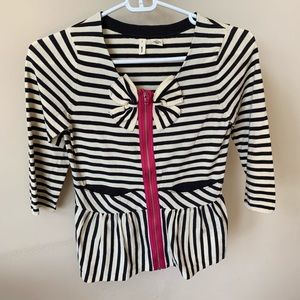 Anthropologie moth striped bow zip front tee #351